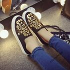 Ladies New Fashion College Bling Slip On Flat Heel Low Top Shoes Casual Loafers