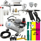 OPHIR 2 Piece Pro  Airbrush Kit with Air Compressor Air Brush Spray Gun Paint