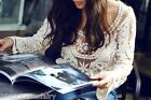 Summer Crochet Lace Mesh Floral Embroidered Top Beach Cover-Up Black, White
