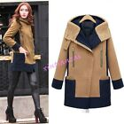 Womens Wool Blend Thicken Warm Parka Long Trench Outwear Coat Jacket Hooded Chic