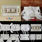White Wedding Ring Tray Plate Ring Pillows Cushion with Lace Ribbon Flower Decor