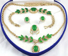 Green Jade 18KGP Golden Link Crystal Pendant Necklace Bracelet Earrings Ring Set