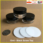 15ml JAR WITH BLACK SCREW TOP, POT CONTAINER LIP BALM CRAFT NAILS GLITTER CREAM