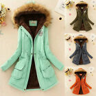 Winter Womens Warm Fur Collar Coat Parka Cotton Trench Hooded Jacket Outwear Hot