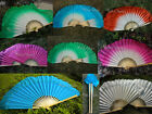 1 pair Starched Chinese short silk dance flutter fan+carry bag