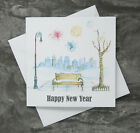 --- 6 Pack - Happy New Year Cards  -- City Fireworks & Bench --