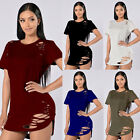 2017 Newly Women Ladies Casual Loose Short Sleeve Holes Blouse T-Shirt Long Tops