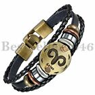Retro Handmade 12 Constellation Zodiac Multilayer Leather Cuff Bangle Bracelet <br/> US ship,Fast ship,Mothers Day,Fathers Day,12 Zodiac