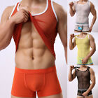 See Through Men Tights Transparent Sheer T-Shirt Vest Tank Various Show Muscle