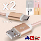 2x Nylon USB Type-C to USB Sync Charger Cable for Google Pixel Oneplus 3 Moto Z