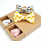 New Men's Bow Tie Adjustable Cotton Animal Cat Duck Fish Print Bowtie Butterfly
