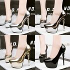 Putent Leather Shallow Pump Pointed Toe Stiletto Solid Platform Club Women Shoes