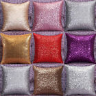Solid Color Glitter Sequins Throw Pillow Case Home Car Decor Cushion Cover
