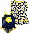 Wippette Baby Girls Sunflower and Polka Dot One Piece Swimsuit Dress CoverUp Set