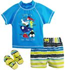 Wippette Baby Boys Sea Animal Creatures Rashguard Swim Short Set with Flip Flops