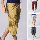 Men Cotton Summer Beach Cargo Pants Seven Shorts Casual Solid Cropped Shorts NEW