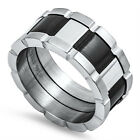 Stainless Steel Original Black Onix Wide 11 mm Unique Man's Band Ring Sizes 8-14