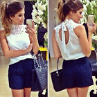 Women Backless Lace Sleeveless Vest Shirts Chiffon Blouses T Shirt Tops