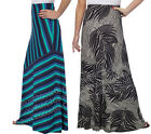 NWT Matty M Long Full Length Maxi Skirt Ladies Black White Palm Teal Pull On