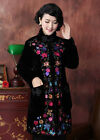 Fashion Black Women's Velour Lengthed Embroider Flower Wadded Jacket Coat M-5XL