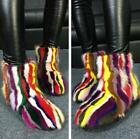 Luxury Women Muti-color Real Fur Warm Winter Ankle Boots Mink Fur Pull On Shoes