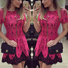 2017 New Women Fashion Celeb Elegant Lace Short Sleeve Party Evening Mini Dress