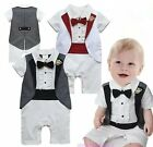 Baby Boy Wedding Christening White Formal Tuxedo Suit Outfit Clothes NEWBORN-18M