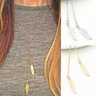 Fashion Women Boho Leaf Feather Pendant Gold Plated Tassel Long Chain Necklace