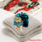 Fashion Colorful Resin Flower Ring Adjustabl Women Crystal Party Wedding Jewelry