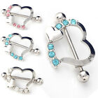 1 pcs Crystal Rhinestone Heart Body Nipple Bar Barbell Piercing Ring Jewelry