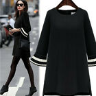 Women Fashion Casual Loose Long Trumpet Sleeve Pullover Sweatshirt Sweater Dress