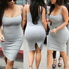 Hot Women U Neck Mini Dress Sleeveless Casual Evening Party Bodycon Summer Skirt