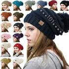 Внешний вид - BRAND NEW CC Beanie Trendy Oversized Hat Thick Solid Cable Knit with Pom Pom