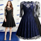 Womens Retro 1950s Sexy Cocktail Formal Evening Party Prom Lace Mesh Swing Dress