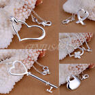 New Charm Women's Jewelry Gift Love Heart Pendant Silver Plated Necklace Chain