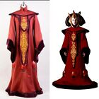 Star Wars Phantom Menace Padme Amidala Cosplay Costume Suit Red Queen Dress Gown $151.79 AUD