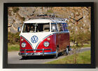VW Camper Van - Red A4 Picture Clock