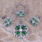 Green Emerald White Topaz Silver Jewelry Sets Earrings Pendant Ring S0161