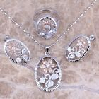 Brown Morganite White Topaz Silver Jewelry Sets Earrings Pendant Ring S0175