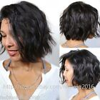"100% Brazilian Remy Human Hair Short Wavy Full Lace Wig Lace Front Wig 8""-12"""