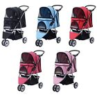 1X 55lbs Three Wheel Pet Stroller Cart Cat Dog Foldable Carrier Travel Jogger
