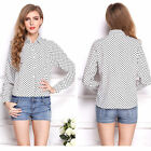 Women Casual Long Sleeve Spots Collared Chiffon Slim Shirts Tops Lady Blouse