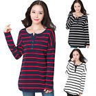 Women Cotton Striped V Neck-Line Blouse Top Casual Long Sleeve Loose T Shirt