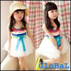 [SALE] Kids Girl Summer Princess Rainbow Lace One Piece Dress Cloth Outfit 2-7Yr