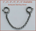 "925 Antique Sterling Silver Safety Chain/Extender For Necklace/Bracelet 1""-6"""