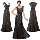 New Elegant Women Long Cap Sleeve Floral Lace Ball Gown Evening Prom Party Dress