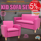 Kids Sofa Children Lounge Arm Chair Leather Pink Black W/ Storage 1 + 2 Seat Set