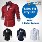 Fashion New British Men's Luxury Long Sleeve Casual Slim Fit Stylish Dress Shirt