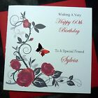 PERSONALISED Handmade BIRTHDAY Card Red Roses 40th 50th 60th 70th 80th  (2508)