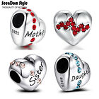 Authentic 925 Sterling Silver CZ Stone Love Heart Charm For Mother Daughter Gift